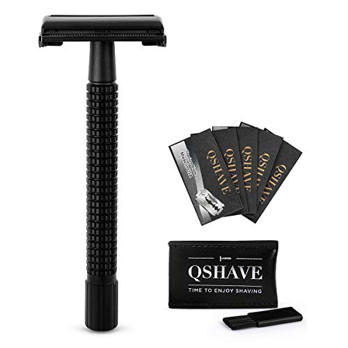 QSHAVE Double Edge 4 inch Long Handle Safety Razor for Men or Women Twist Butterfly Open Matte Black Steel Coating (1 Razor + 5 pcs Titanium Coated Blades + Leather Travel Case)