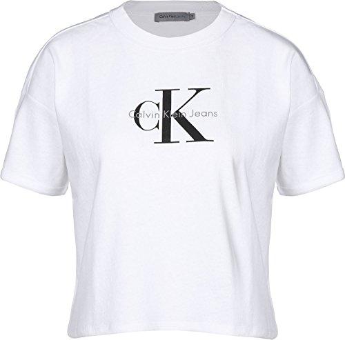 Calvin Klein Jeans Teco-18b True Icon CN Lwk S/s T-Shirt, Bianco (Bright White 112), X-Large Donna