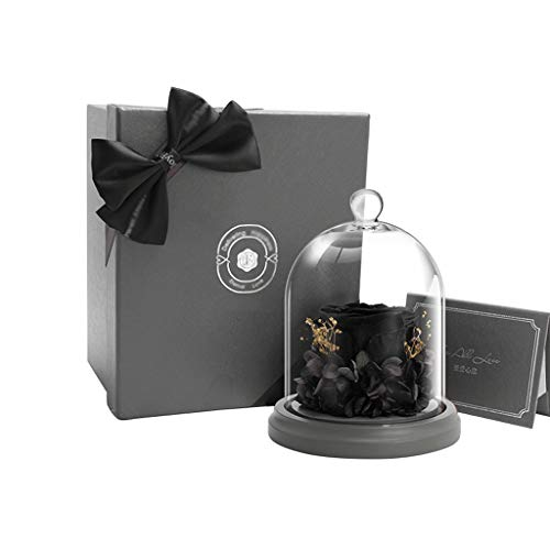 LZL Forever flower Black Rose Preserved Flower Gift Box Glass Preserved Real Rose Wife Men Girlfriend Valentine's Day Birthday Beauty and the beast rose (Color : Black)