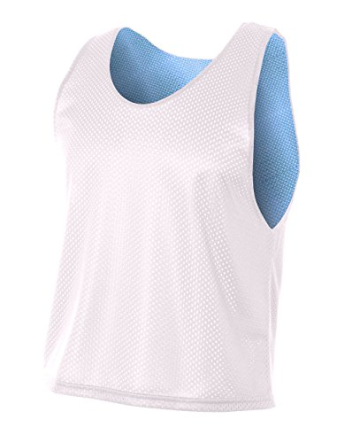 A4 Youth Lacrosse Reversible Practice Jersey, White/Light Blue, Medium