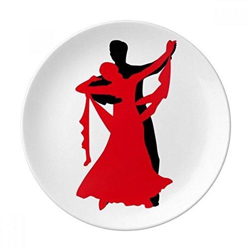 DIYthinker Danseur Duo Danse Danse Sociale Plaque décorative Porcelaine Dessert 8 Pouces Dîner Accueil Cadeau 21cm diamètre Multicolor