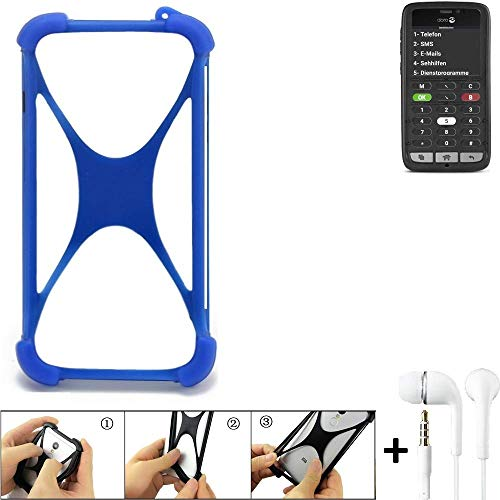 K-S-Trade® Bumper Für Doro 8031C Schutzhülle Handyhülle Silikon Schutz Hülle Cover Case Silikoncase Silikonbumper TPU Softcase Smartphone, Blau (1x), Headphones