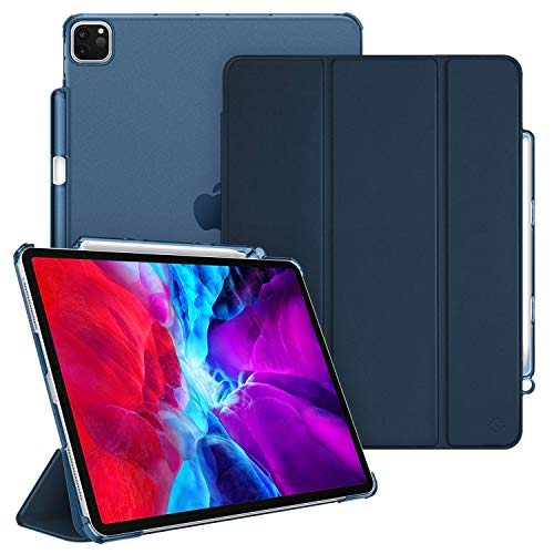 CaseBot SlimShell Case for iPad Pro 12.9' 4th & 3rd Generation 2020/2018 with Pencil Holder - Lightweight Cover Translucent Frosted Stand Hard Back, Auto Wake/Sleep (Navy)