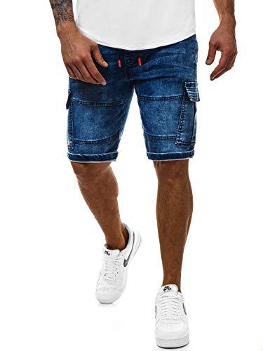 OZONEE Herren Jeans Shorts Bermuda Hose Kurz Herrenjeans Jeanshose Stretch Regular Fit Bermudashorts Freizeitshorts Freizeithose Kneelang Straight Sportjeans 777/336S BLAU 2XL