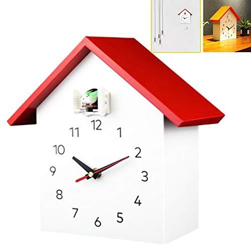 RANRANHOME Kuckucksuhr Fenster, Kleine Moderne Kuckucksuhr Natürliche Vogelstimmen, Wanduhr Art Home Wohnzimmer Küche Büro Dekor Dekoration (26,8 X 25,5 cm),Rot