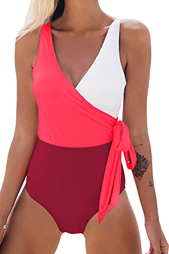 CUPSHE Women's Orange White Bowknot Bathing Suit Padded One Piece Swimsuit (Red White, Large (USA 12/14))