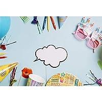 Assanu 7×5フィートビニール誕生日写真の背景ピンクメガネカラフルなパーティーアクセサリーエッジライトブルーの背景子供子供赤ちゃんの誕生日パーティーバナー幼稚な壁紙スタジオ