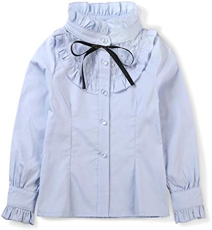 OCHENTA Girls Princess Lace Collar Uniform Bowknot Blouse Long Sleeve Ruffle Shirt Blue US 4 product image