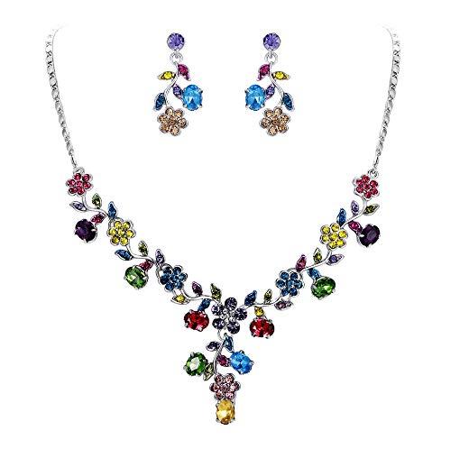 EVER FAITH Flower Leaf Necklace Earrings Set Austrian Crystal Silver-Tone - Multicolor