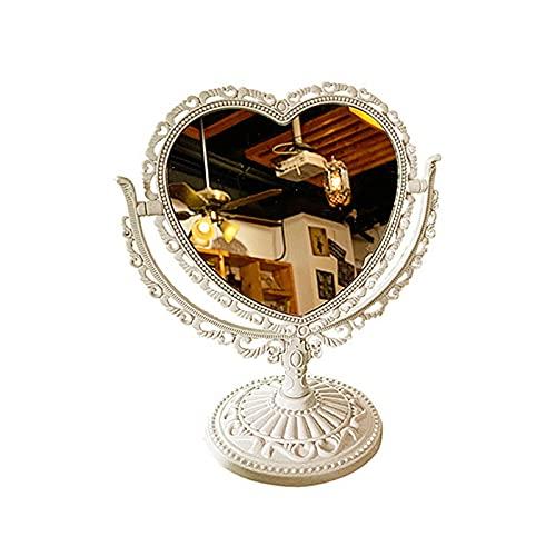 Benoon Espejo vanidad bancos de pie espejo cosmético funcional durable escritorio tipo antiguo vintage estilo europeo escritorio maquillaje espejo para maquillaje beige 2