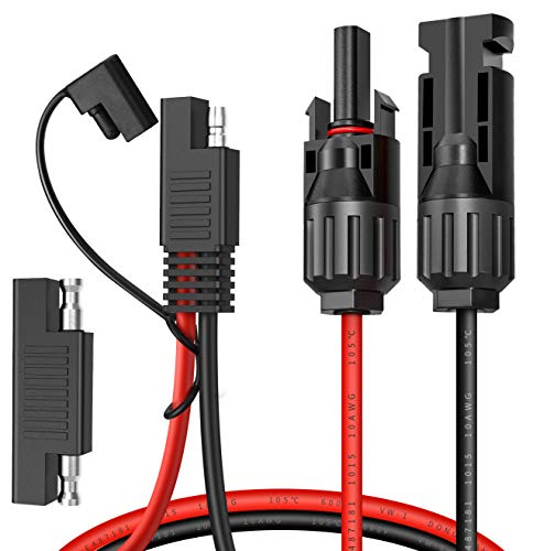 Electop Solar Panel Connector Cable, 10AWG SAE Connector to Male & Female Solar Connectors Adapter PV Extension Cable Wire for RV Solar Panel DC Power Battery Charger with SAE Polarity Reverse Adapter