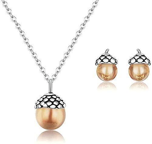 NONGYEYH co.,ltd Collar Borlas de Plata Brillante Pendientes de Clip de Cadena Larga y Collares Conjuntos de Joyas para Mujeres