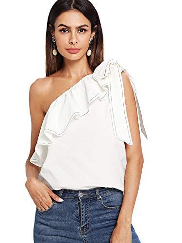SheIn Women's Casual Sleeveless Tie Knot One Shoulder Ruffle Blouse Top White XS