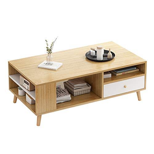 JTRHD Mesas de café Mesa de Centro con 1 cajón y Estante de Almacenamiento Mesa de cóctel Mesa TV Mesa de sofá Rectangular para Muebles de salón de Oficina (Color : Wood, Size : 100X48X42CM)