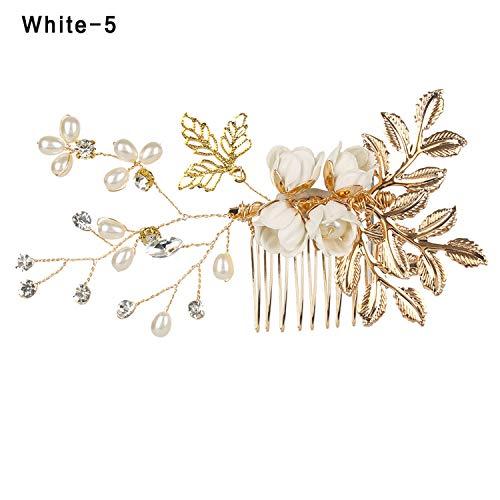 Luxury Blue Flower Hair Combs Headdress Prom Bridal Wedding Hair Accessories Gold Leaves Hair Jewelry Hair Pins,white 5