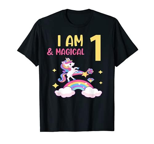 Chicas I am 1 & Magical Birthday Unicorn Rainbow 1 año Camiseta