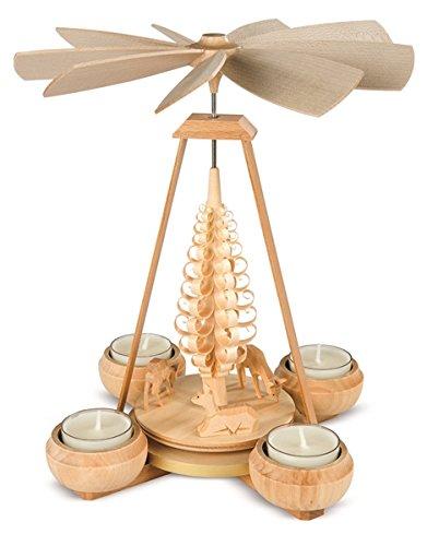 Teelichtpyramide Teelichtpyramide Rehe geschnitzt 1-stöckig, natur mit Teelichter (LxBxH):17x16x24cm NEU Tischdekoration Dekoration Weihnachten Wärmespiel Lichter Figur Edelholz Seiffen Erzgebirge