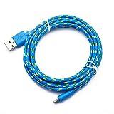 Cable micro trenzado de nylon colorido del cargador USB de la sincronización de datos del cable USB para Android (azul 1m)