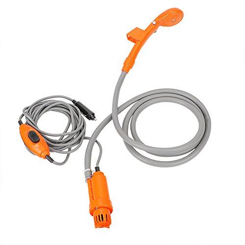 Herramienta de ducha de viaje para acampar al aire libre con encendedor de cigarrillos portátil ducha de coche (naranja)