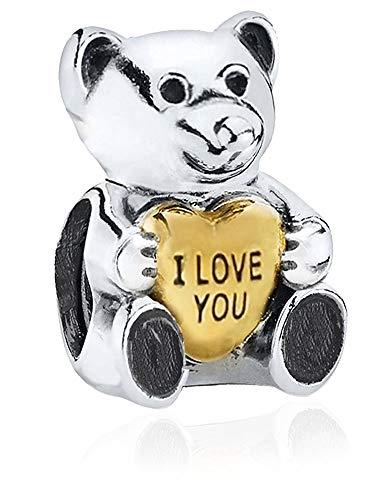 Teddy Bear I Love You Heart Charm - S925 Sterling Silver Bead fits Pandora Women's Charm Bracelet - Gift boxed