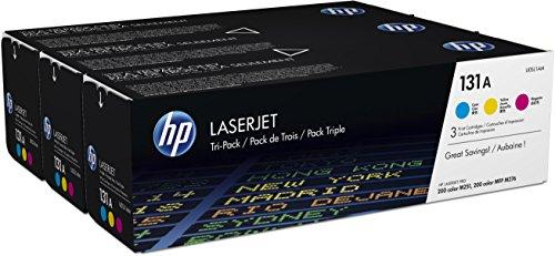 HP 131A 3er-Pack (U0SL1AM) Blau/Rot/Gelb Original Toner für HP LaserJet Pro 200 Color M251, MFP M276