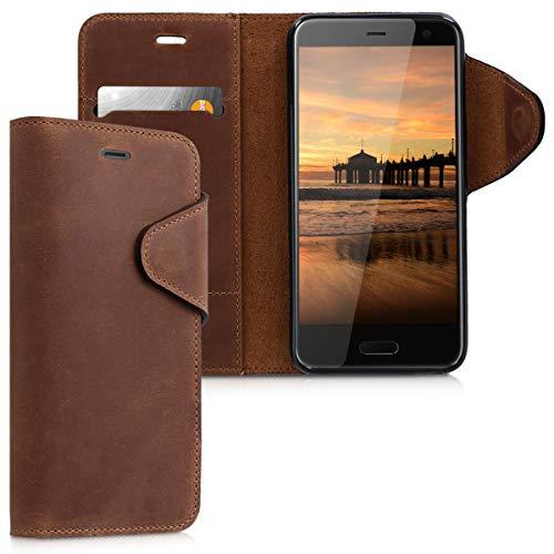 kalibri Hülle kompatibel mit HTC U11 Life - Leder Handyhülle - Handy Wallet Hülle Cover in Braun