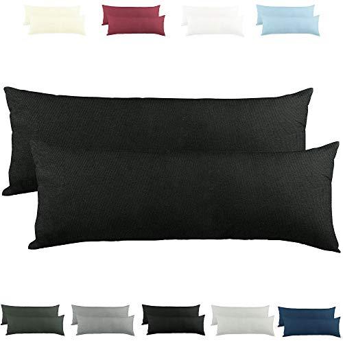 CelinaTex Active Seitenschläferkissen Bezug Doppelpack Set 40x145 schwarz Baumwolle Jersey Stillkissen Kissenhülle 5001564