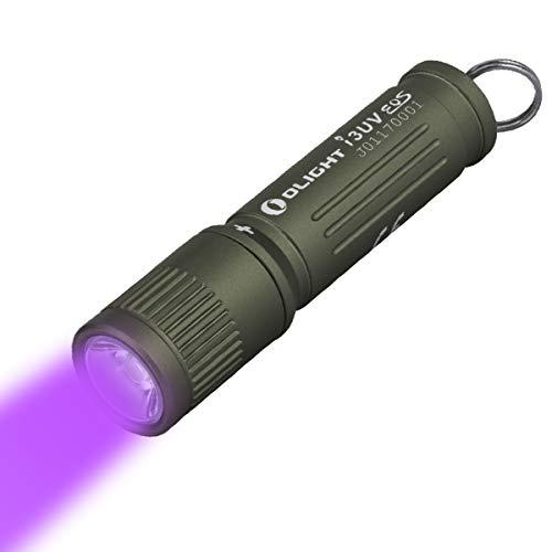 Olight i3UV EOS Ultraviolette Mini Schlüsselbund Taschenlampe 395nm UV LED Schwarzlicht AAA Kompakt Schlüsselanhänger Taschenlampen, UV Lampe Wasserdicht IPX8, mit AAA Batterie Batteriekasten