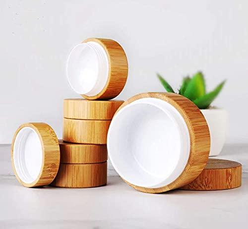 Generisch Lifestyle Bambus Behälter Dose für Creme/Krem 30g-50g - Leerer Nachfüllbarer Kosmetik Make-Up Behälter (50g) im braunen Jutesäckchen - Jutebeutel