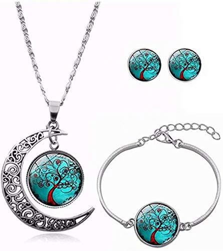 Sunmuch, set di gioielli da donna con ciondolo a forma di albero della vita, orecchini e bracciale, regalo di nozze