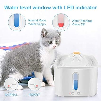 RIOGOO Fontana per Gatti, distributore di Acqua per Animali Domestici 2.5L / 84oz con Pompa di spegnimento Automatico, distributore di Acqua Intelligente per Gatti con indicatore Luminoso a LED