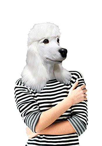 De Rubber Plantation TM 746550380376 witte poedel volledige hoofd latex hond masker Fancy jurk Halloween dier Canine, Unisex-Volwassene, een maat