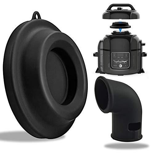 Support de couvercle en silicone pour couvercle et dévidoir de vapeur 2 en 1, accessoire de cuisine compatible avec les autocuiseurs Ninja Foodi et friteuses à air 5 Qt, 6,5 Qt et 8 Qt (Noir)