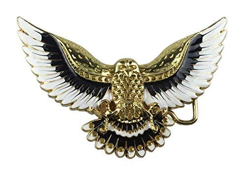 Hebilla para cinturón de gran águila real, dorada, blanco y negro.