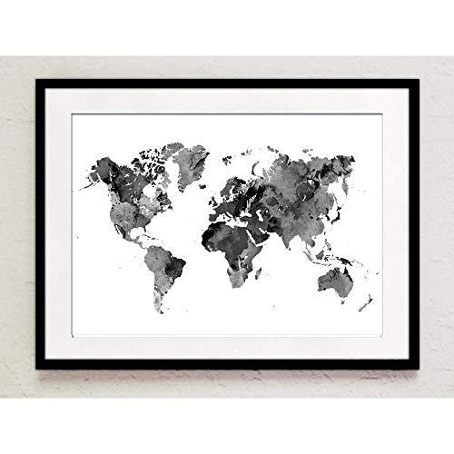Print Weltkarte schwarz weiß Aquarell A4