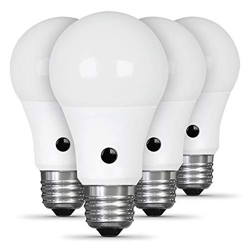 Feit Electric A800/927CA/DD/LEDI/4 60W Equivalent 8.8W, IntelliBulb Dusk to Dawn A19 LED Light Bulb, 2700K Soft White, 4 Pack