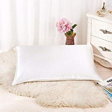 ALASKA BEAR - Natural Silk Pillowcase, Hypoallergenic, 19 momme, 600 thread count 100 percent Mulberry Silk, Queen Size with hidden zipper (1, Ivory(Natural Undyed White))
