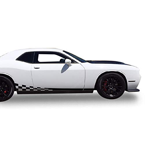 Bubbles Designs Decal Sticker Vinyl Side Wavy Finishing Stripe Kit Compatible with Dodge Challenger 2008-2017 (Black)