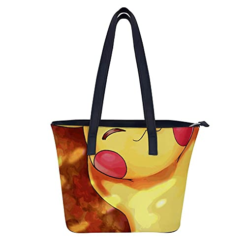 Pokémon Detective Pikachu. Bolsos para señoras grandes de cuero bolsos para mujer Tote Messenger hombro Crossbody Bag