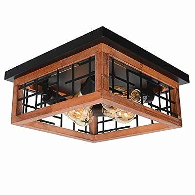 Baiwaiz Round Rustic Semi Flush Mount Light, Black Metal and Wood Farmhouse Ceiling Lighting Industrial Wire Cage Light Fixture 3 Lights Edison E26 105