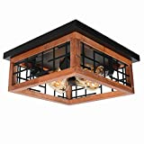 Baiwaiz Farmhouse Wood Flush Mount Ceiling Light, Black Metal Rustic Close to Ceiling Lighting Industrial Square Wire Cage Ceiling Light Fixture 4 Lights Edison E26 106