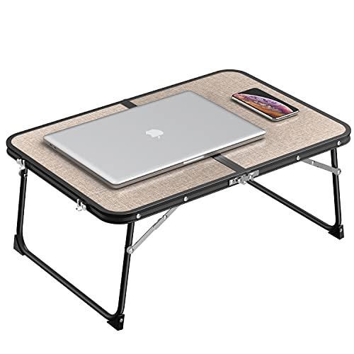 Robotime Tavolo da letto pieghevole da scrivania per laptop, vassoio da letto portatile per laptop, supporto per notebook sul letto o sul divano per guardare film 60x40x26 cm