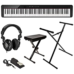 Casio Privia PX-S1000 88-Key Digital Piano (Black), Bundle with Bench, Stand, Sustain Pedal and H&A Studio Headphones