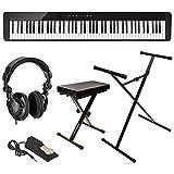 Casio - Piano digital Privia PX-S1000 de 88 teclas, con banco, soporte, pedal de sostenido y auriculares, de color negro