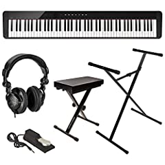 KIT INCLUDES: Casio Privia PX-S1000 88-Key Slim Digital Console Piano | Casio Sustain Pedal (SP-3) | Sheet Music Stand | AC Adapter | Cushion Bench | Sturdy Lightweight Adjustable Stand | Full-sized Sustain Pedal | H&A Studio Monitor Headphones KEY F...