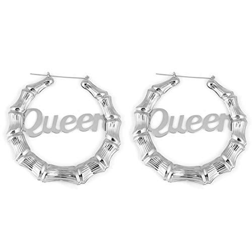 YOYOHO Gold Tone Casting Round Bamboo Hoop Earrings - Silver