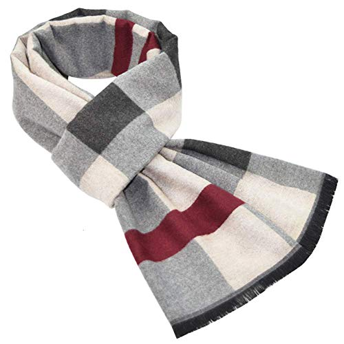 Soft Winter Tartan Scarf for Gentleman Classic Scarf Gray and Red Check Scarf Tartan Scarf 180 * 32 cm