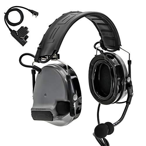 TAC-SKY COMTA III - Casco táctico electrónico con protección auditiva con orejeras de silicona y micrófono, ideal para deportes y caza Airsoft al aire libre (gris)