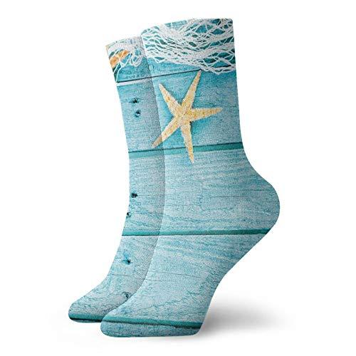 Calcetines suaves de longitud media pantorrilla, tablas de madera rústica, red de pesca y animales del océano, estampados náuticos, calcetines para mujeres y hombres, ideales para correr
