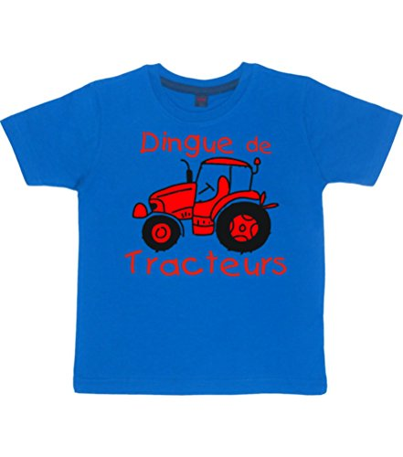Edward Sinclair DINGUE DE TRACTEURS' Design 2 86-92 Bleu Royal Tshirt Enfant